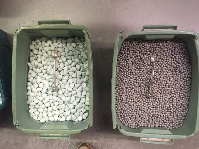 These are the billiards that go into the polishing machine. The chunky billiards give a matte finish, for a shiny finish the objects are spun again with smaller billiards.