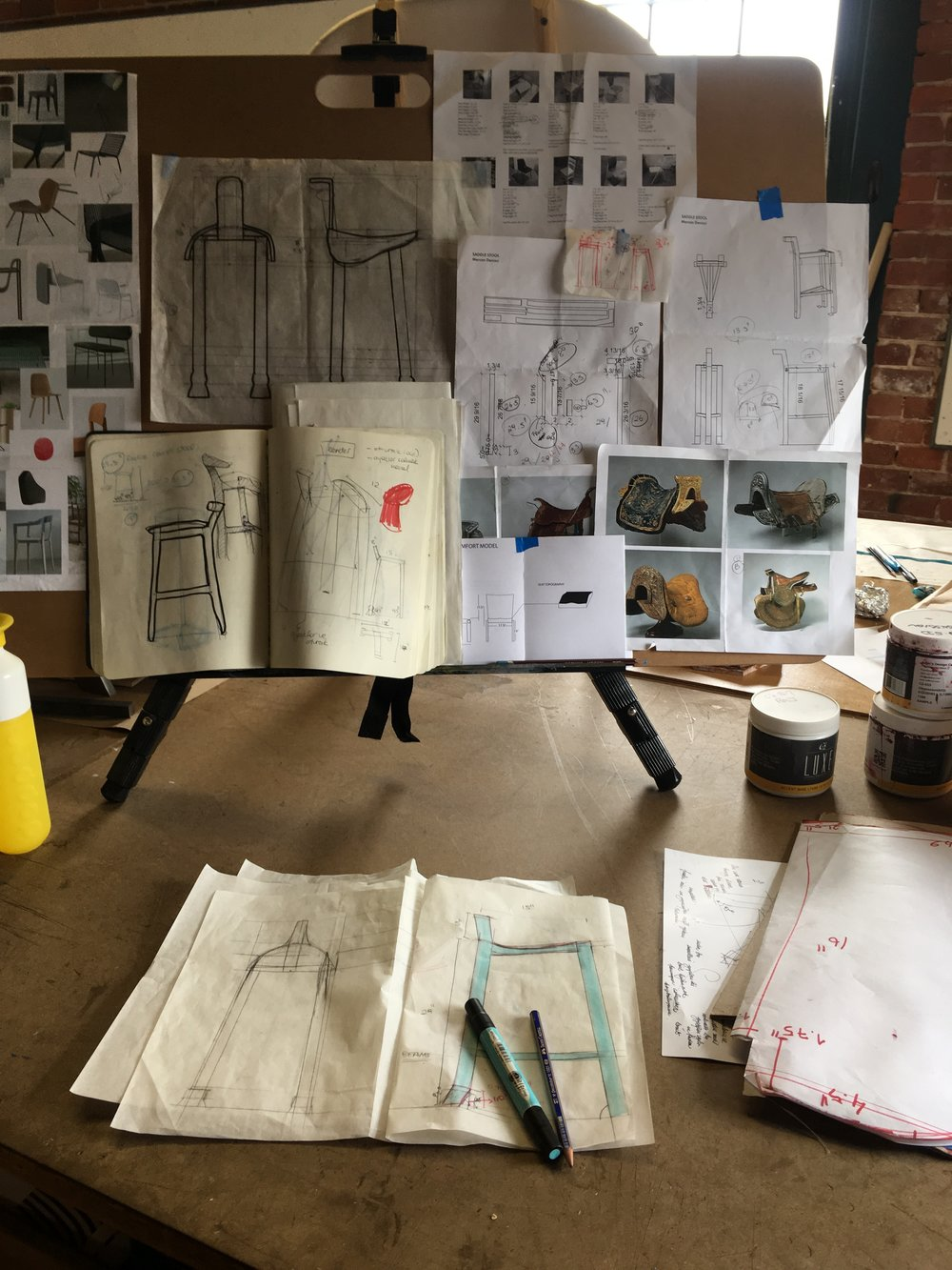 Desk, inspiration boards, sketches and drafts can be seen here.