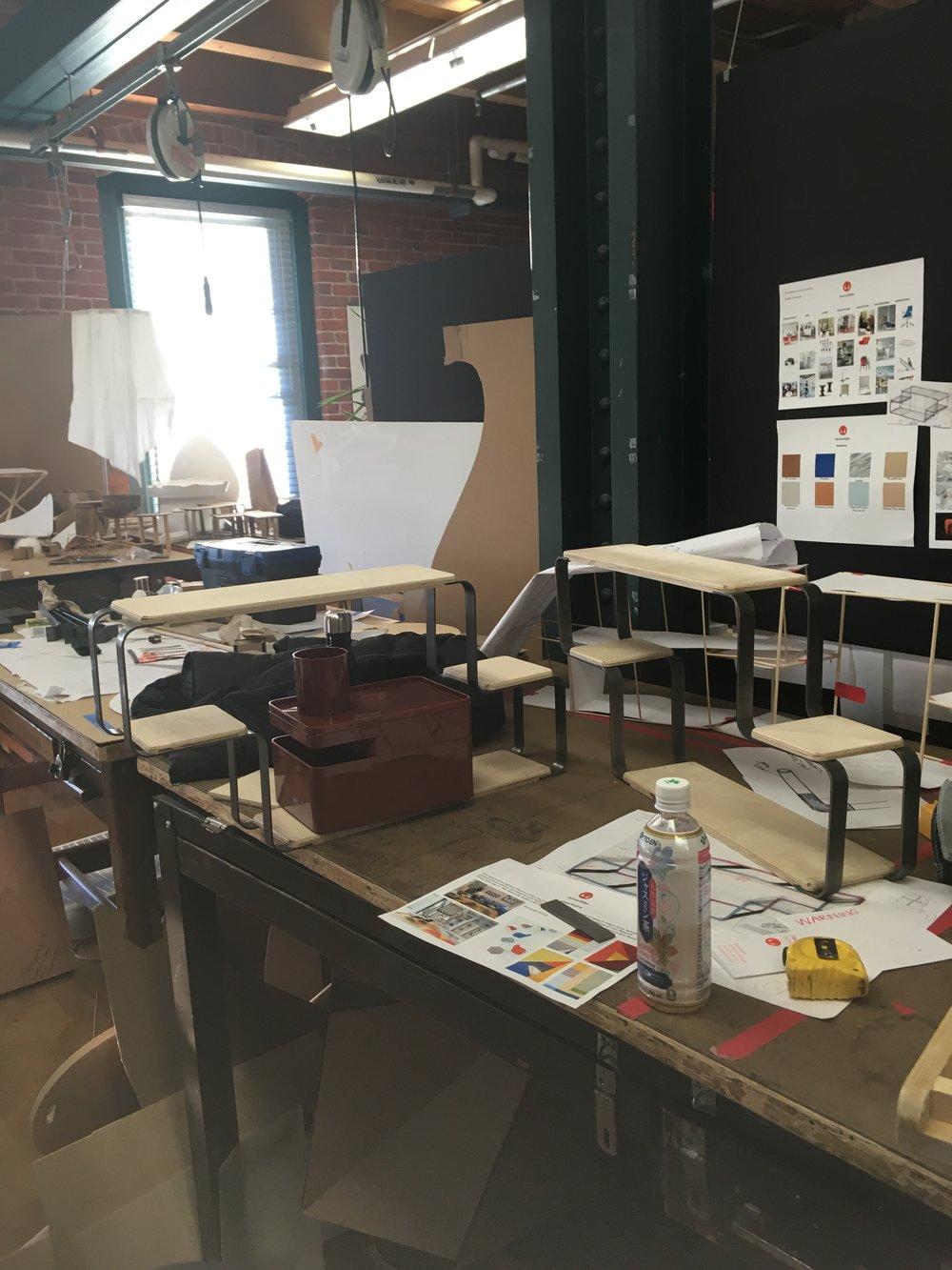 Testing how Mondri shelf interacts with Herman Miller's Formwork desk organizers.