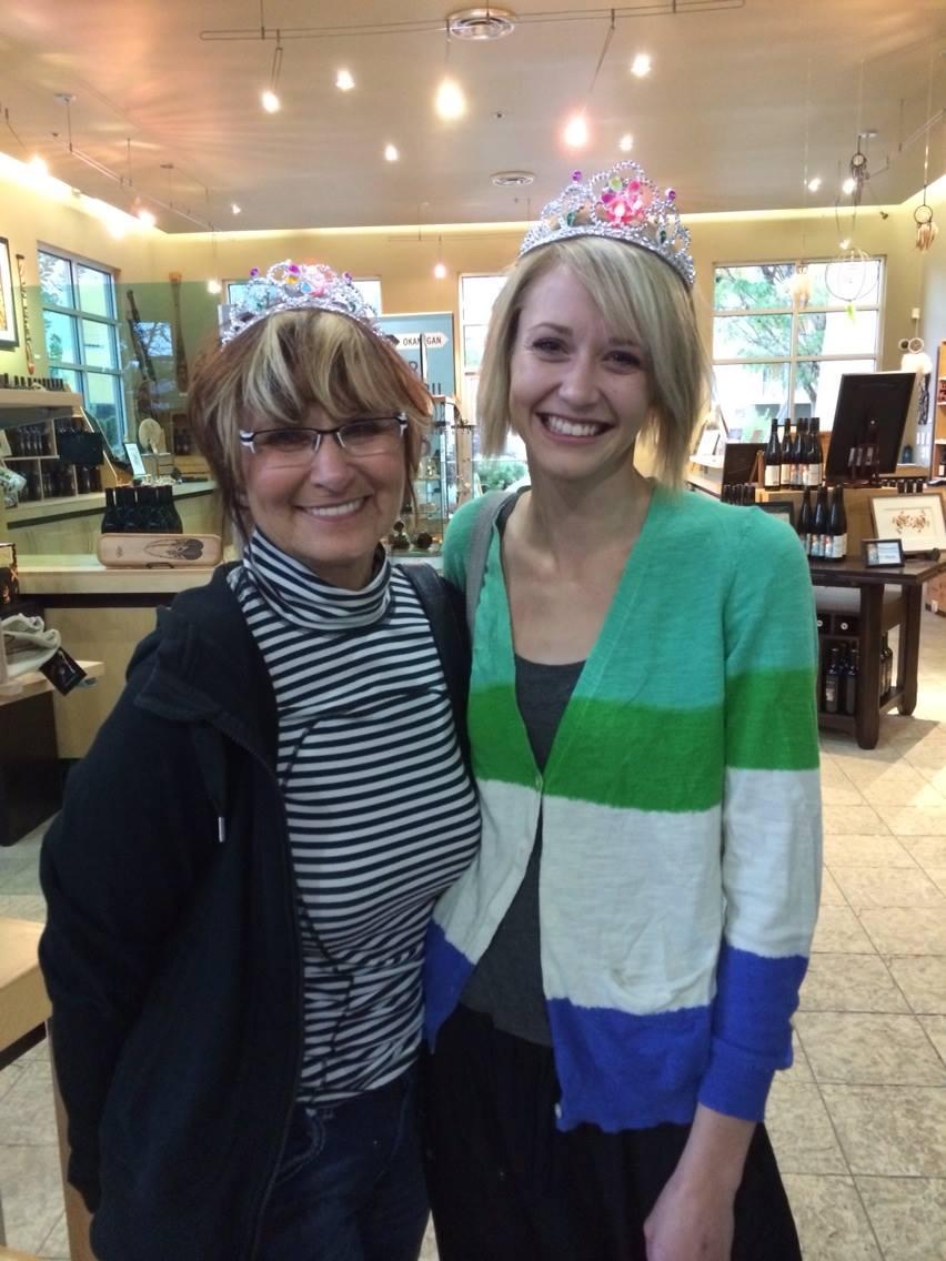 Birthday Girls in their tiara's in the Osoyoos Resorts vineyard