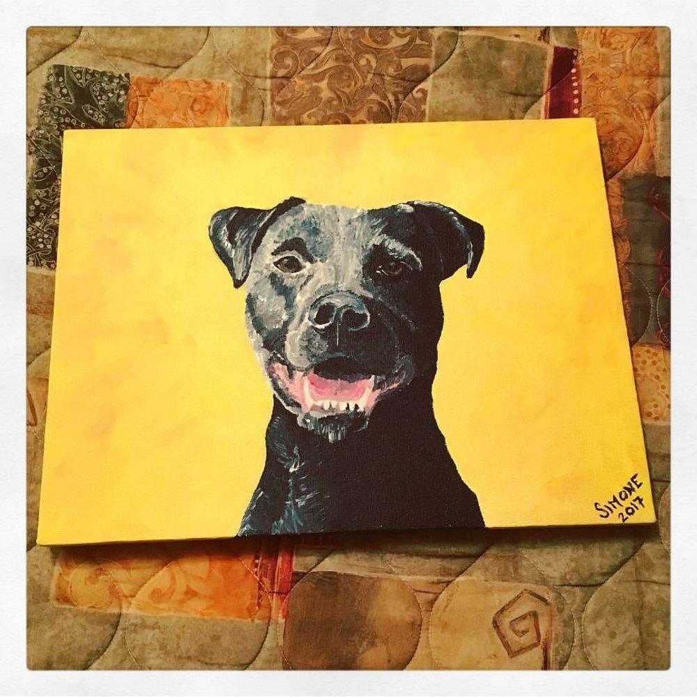 Izzie's dog Mozzi(RIP) painted by Simone Krebser