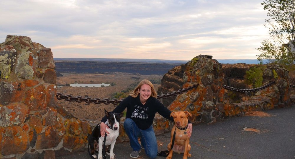 Izzie and Simone's dogs overlooking Great Falls Washington on the way to Jay Jack & Chad Mackin - 2015
