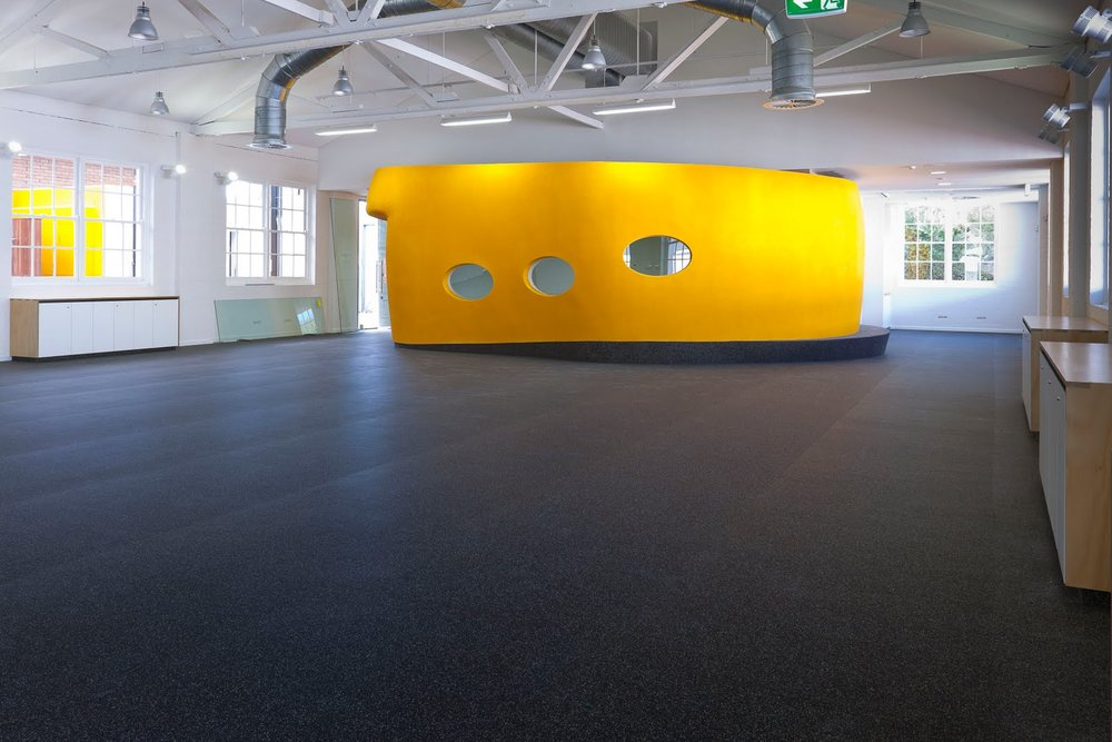 Not our facility, but shows installed rolled rubber matting