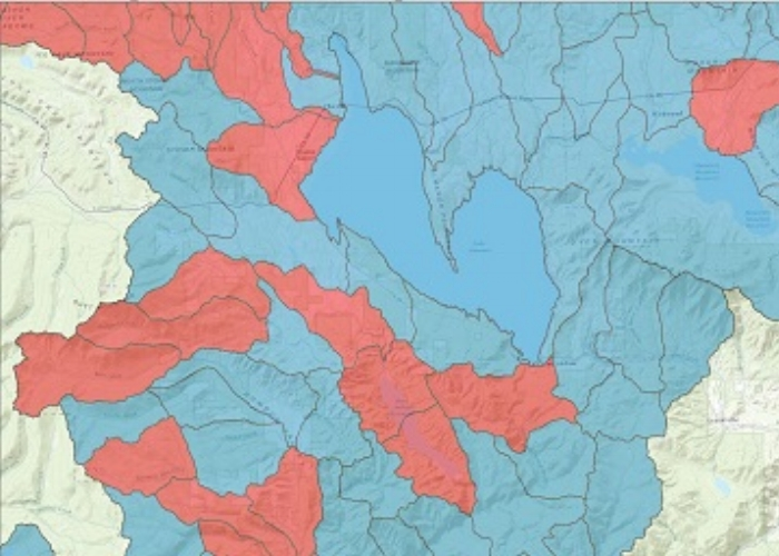 Rainbow trout presence (in red) in a portion of the Upper Feather River Basin, displayed at the watershed scale, USGS 14-digit Hydrologic Unit Code (HUC). Data obtained courtesy of USFS.