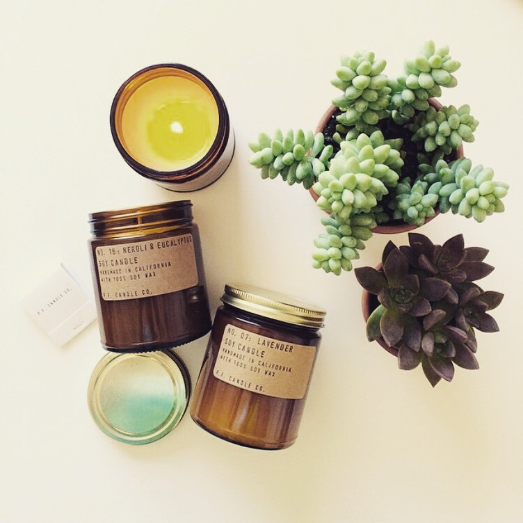 p.f. candle Co.  These soy candles are made in small batches using domestically grown soy wax, cotton core wicks, fine fragrance oils, and apothecary inspired packaging. We'll have just a limited number of these candles, so be sure to grab one while you can!