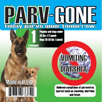 "Parv-Gone is a safe Homeopathic supplement to help deliver rapid relief to your puppy or dog from the symptoms of the ""Parvo virus"" such as vommiting, diarrhea and other common sypmtoms. In most cases ""Parv-Gone"" is a one-time use with 24 hour results. http://parvgone.com/main.sc"