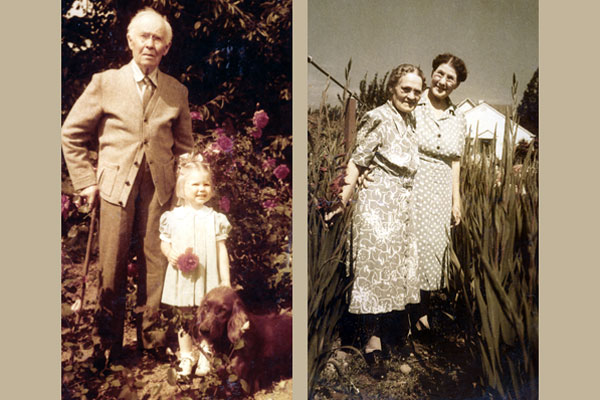 August Swanson (with granddaughter Marjie) and Selma Swanson (with a neighbor) always added a dignified presence and helped out until late in life.
