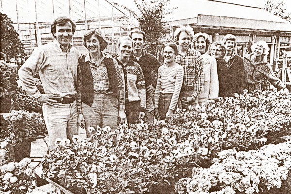 In 1976, Wally Kerwin purchased the nursery from the Swanson family. This photo shows Wally, far left, with the 1981 staff.