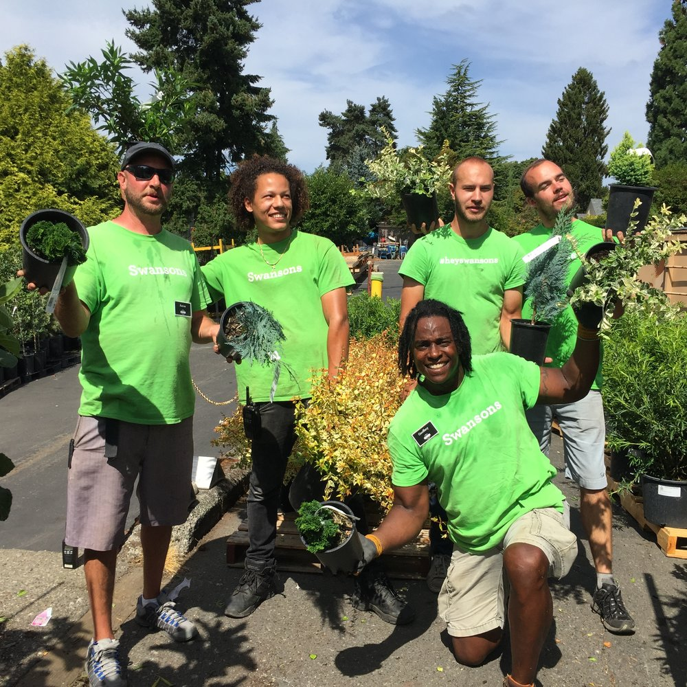 Everyone pitches in to unload a truck of new plants