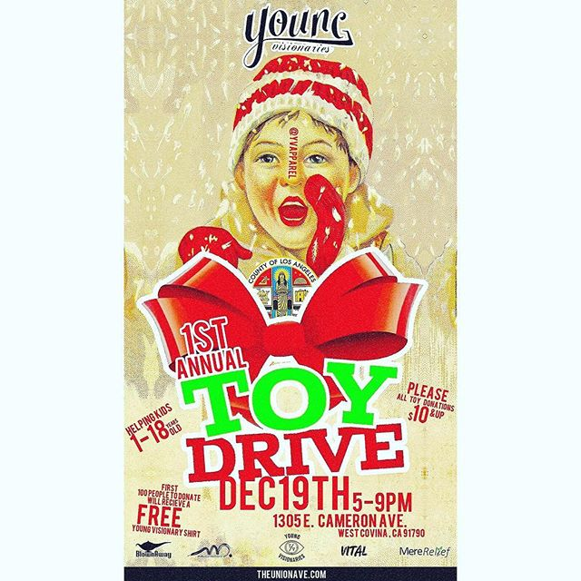 ATTENTION EVERYONE: On Dec. 19th we will be apart of the @yvapparel 1st annual Toy Drive. Come out and support! We will have product there with us... Bring a toy, and we'll hook you up!  It begins at 5pm!  #BlownAwayBrand #BlownLife #youngvisionaries