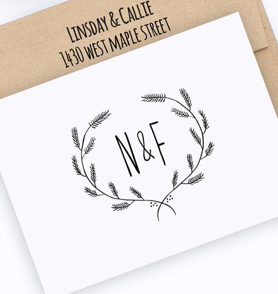 Initials & Wreath Stamp  |  Hello World Paper Co. & Stamps