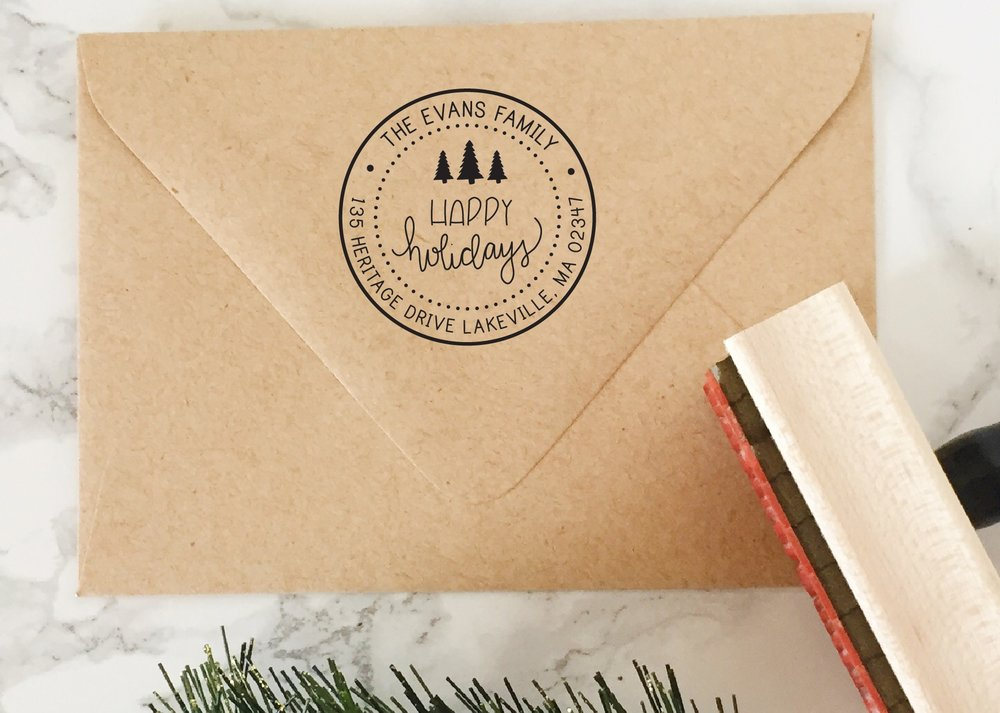 Happy Holidays Address Stamp by Hello World Stamps on Etsy