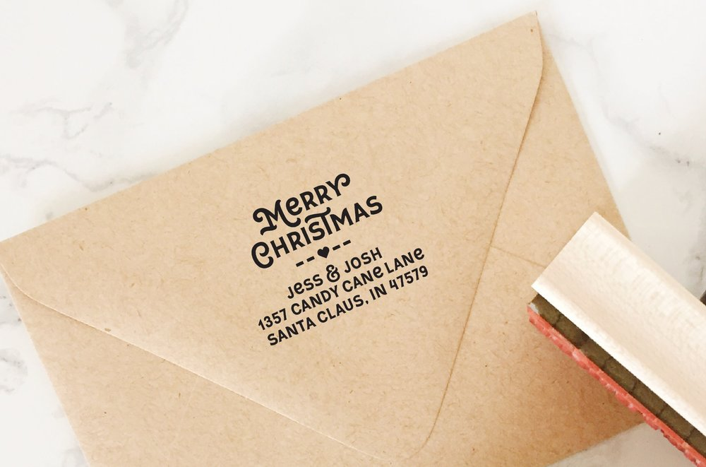 Merry Christmas Address Stamp by Hello World Paper Co. & Stamps