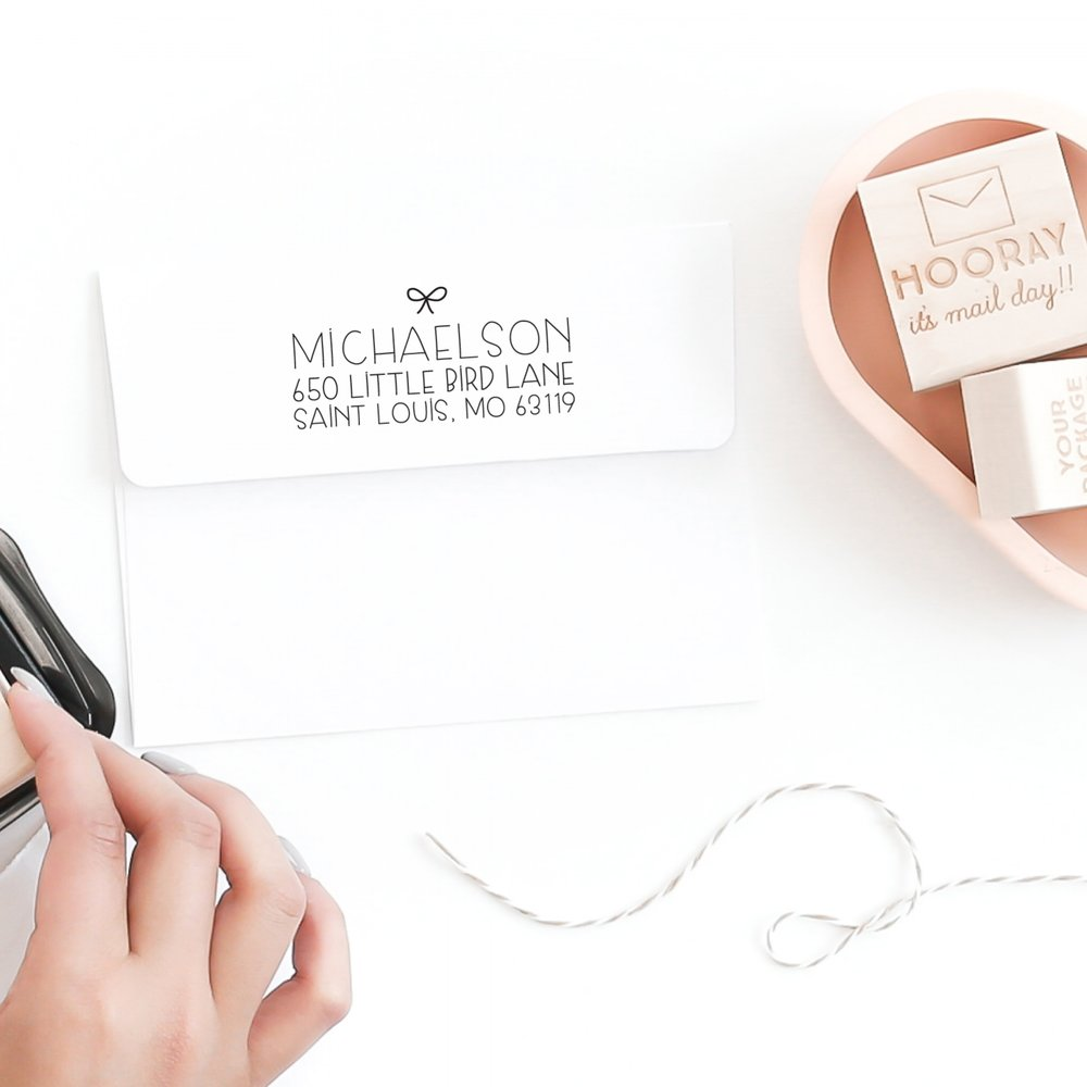 Custom Holiday Address Stamp by Hello World Paper Co. & Stamps