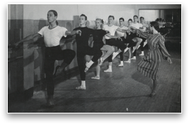 Margaret Craske, a cecchetti pupil who became ballet mistress of Ballet Theater in 1947, conducts a class with Enrique Martinez.