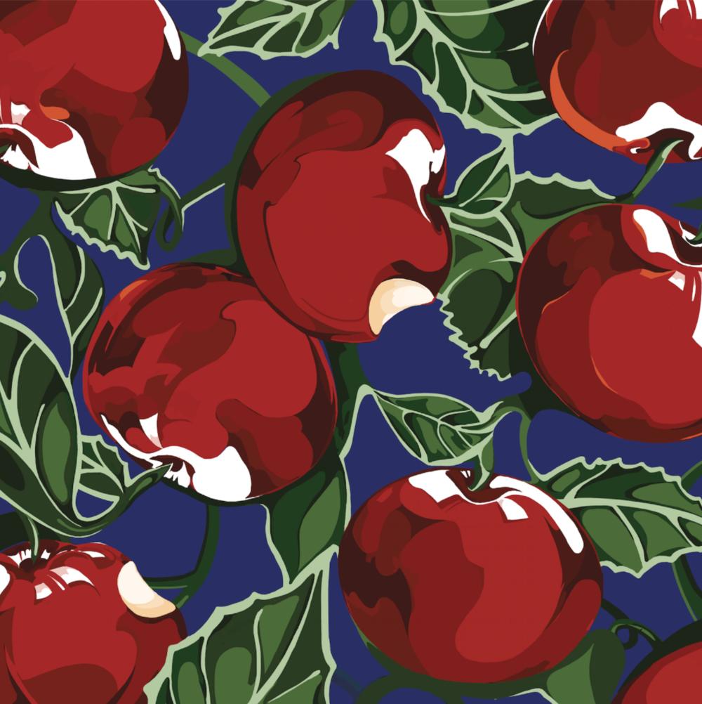 Apple of My Eye Series Print in Silk & Wool