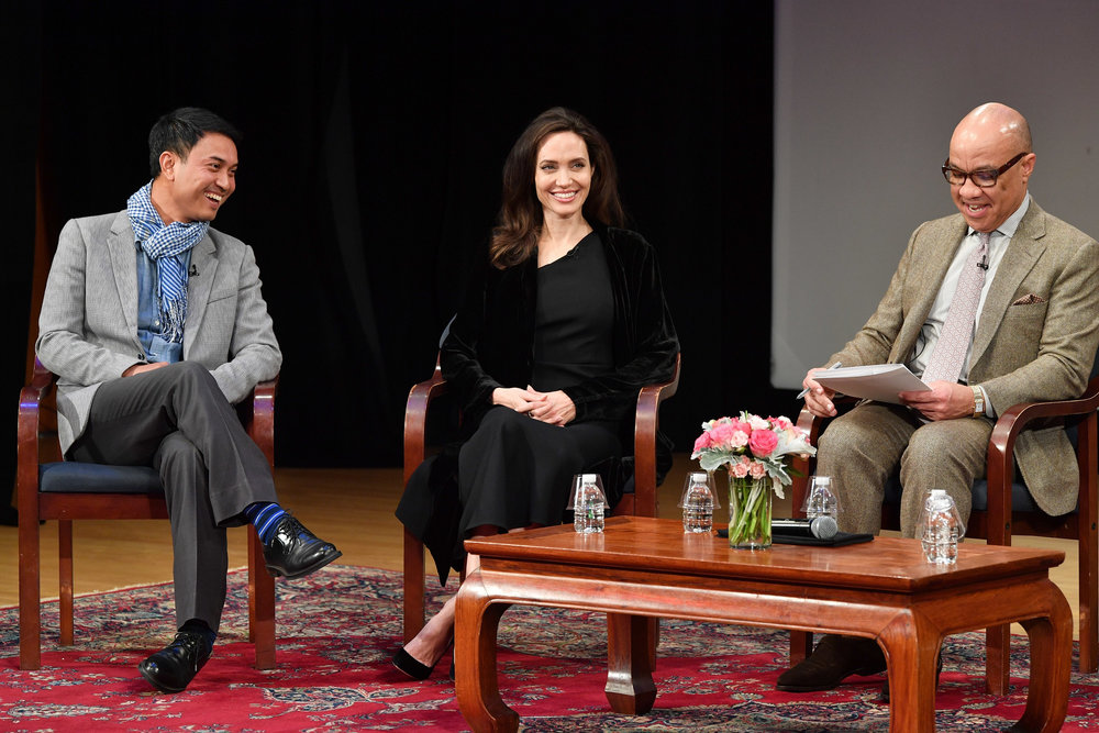(Above, Phloeun Prim, Angelina Jolie, and Darren Walker at the Asia Society)
