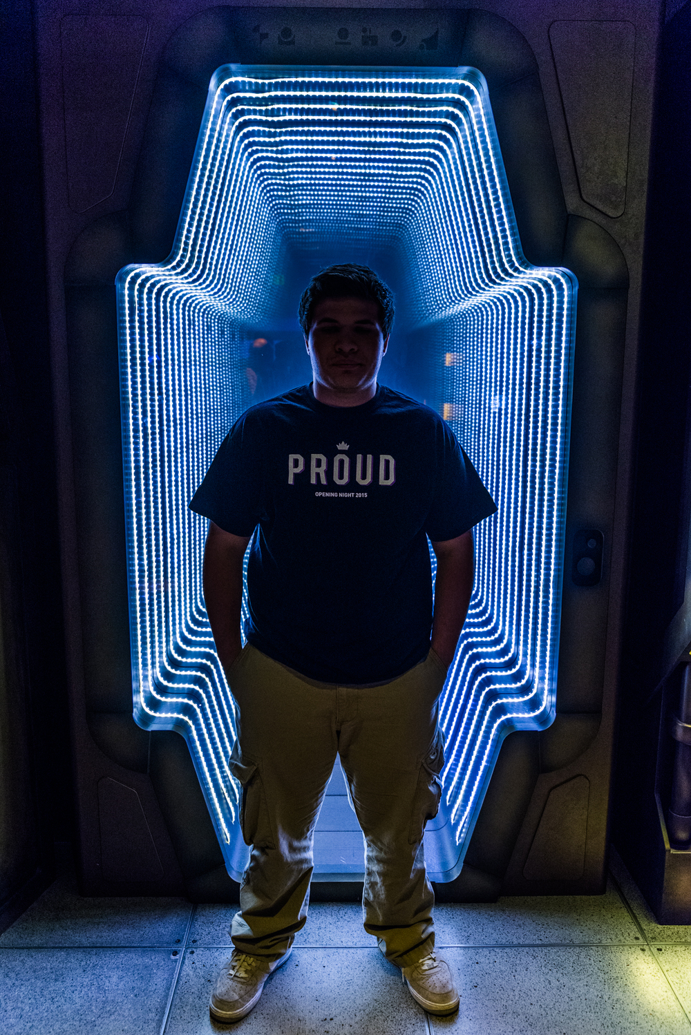 My son in front of an infinity window at the EMP museum in Seattle, Washington #sacramentoproud.