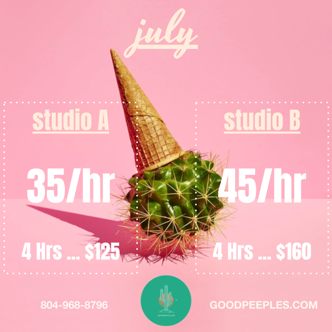 SESSION RATES INCLUDE TRACKING & MIXING IN SESSION WITH AUDIO ENGINEER. EMAIL US FOR MASTERING SERVICES AT STUDIOS@GOODPEEPLES.COM
