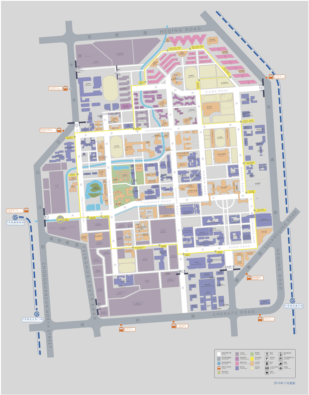 "Tsinghua Campus Map  Note:  'Mong Man-wei Science Technology Bldg' here is named ""综合科技一号楼"" in the upper-right corner."