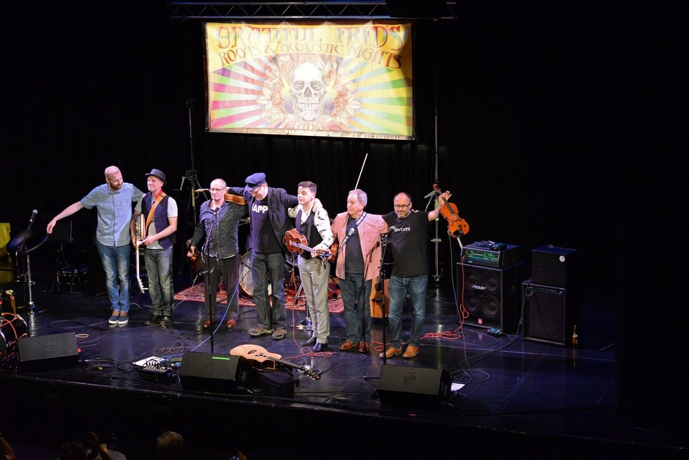 Onstage at Grateful Fred's at The Atkinson, Southport, 6th July 2016. From left, George Hitchmough (GFUT), Les Glover (Henry Priestman), Vincent Gillespie (GFUT), Henry Priestman, Pete McPartland (GFUT), Grateful Fred, Nick Silver (Henry Priestman).