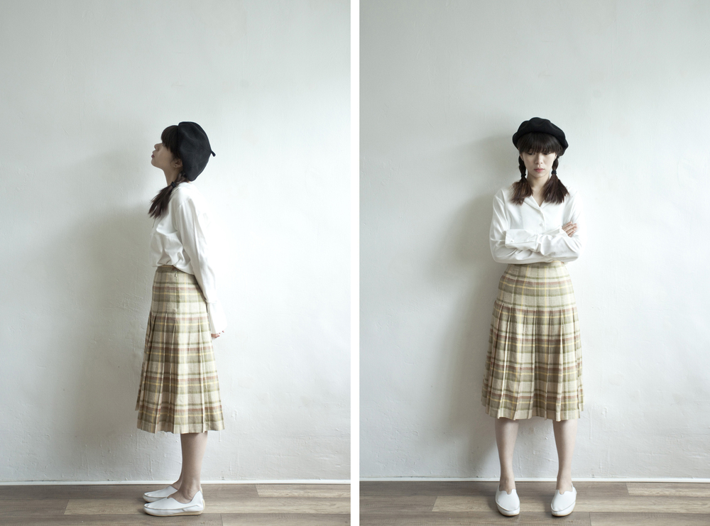 NBV4941 mabeos olive mixed checks pleats skirt   price: HK$248 / NT$1070   made in italy   handpicked in korea    也在賣 \\ 上衣 \ 帽子 \ 鞋子