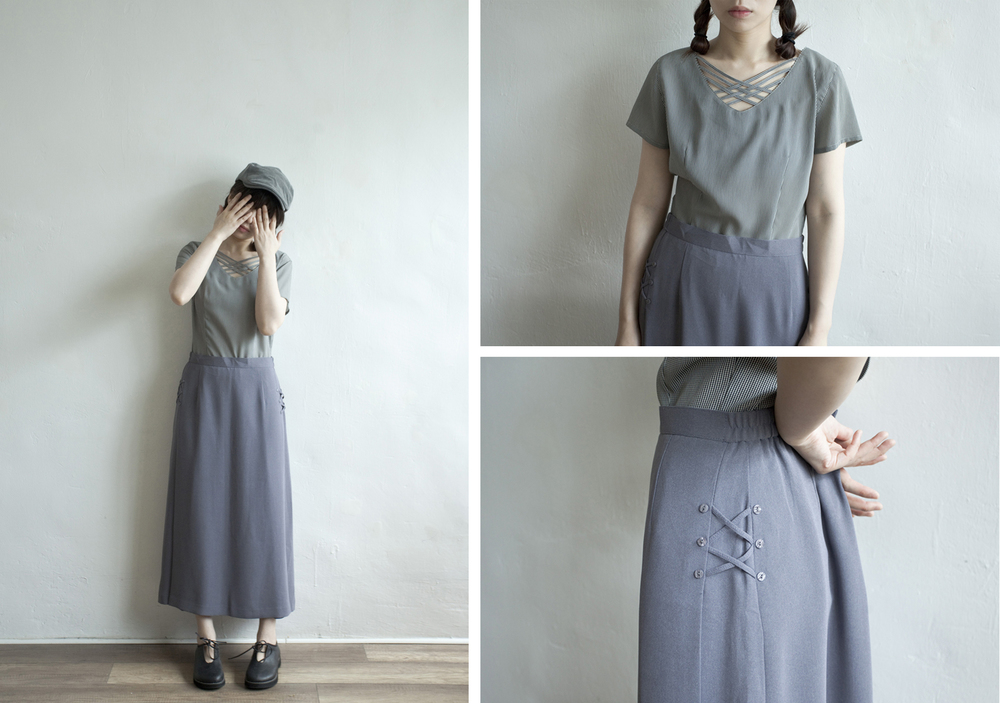 NBV4953 prenon asshu silver blue side ribbon-tied h skirt   price: HK$248 / NT$1070   made in japan    也在賣 \\ 上衣 \ 帽子 \ 鞋子