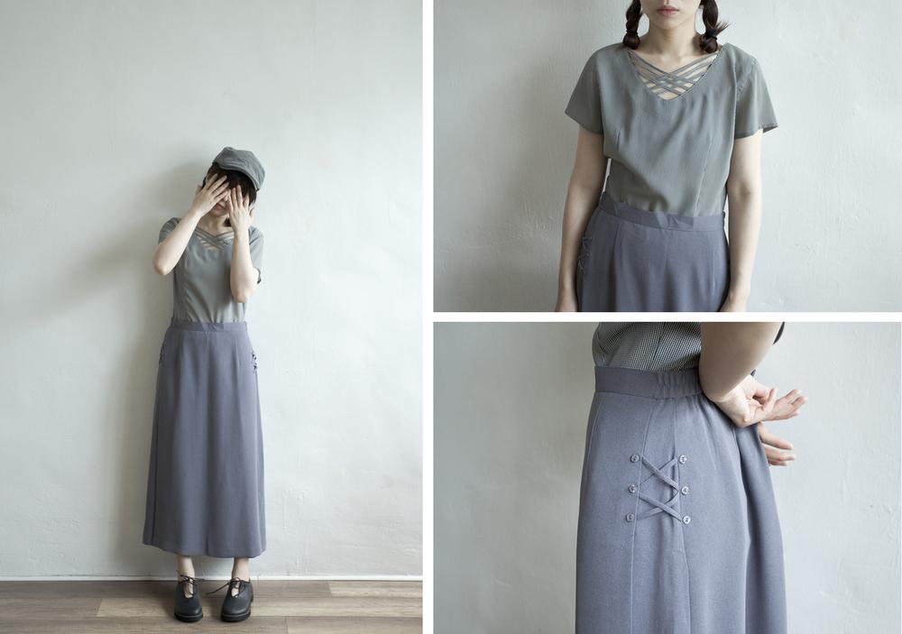 NBV4953 prenon asshu silver blue side ribbon-tied h skirt   price: HK$248 / NT$1070   made in japan    也在賣 \\ 上衣 \ 帽子 \ 鞋子