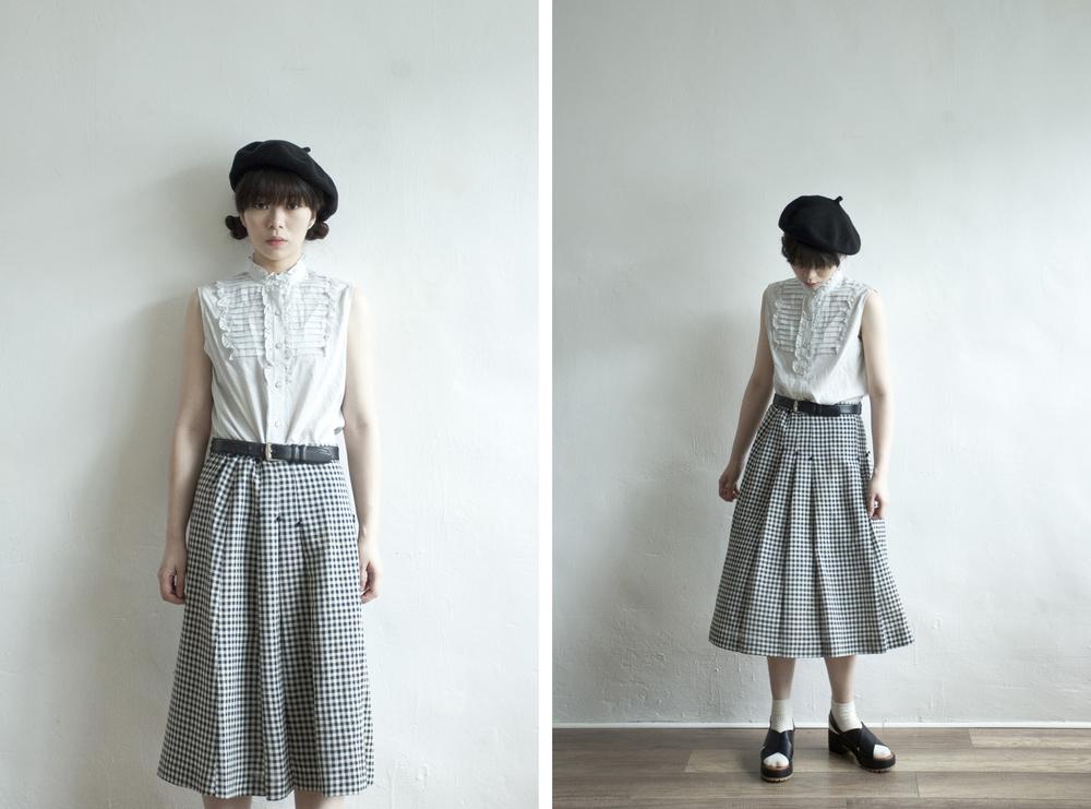 NBV4963 mori b/w checkers knife pleats skirt   pprice: HK$228 / NT$980   made in japan    也在賣 \\ 上衣 \ 帽子 \ 鞋子