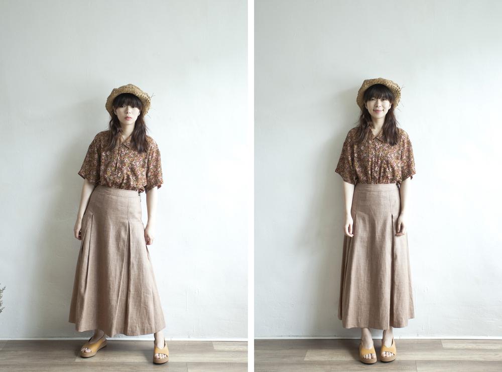 NBV5004 drury lane almond brown linen skirt   price: HK$248 / NT$1070   made in japan    也在賣 \\ 上衣 \ 帽子 \ 鞋子