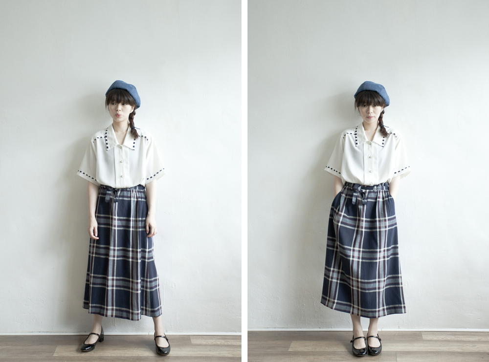 NBV5013 onpeut navy plaids linen mixed skirt   price: HK$278 / NT$1200   made in japan    也在賣 \\ 上衣 \ 鞋子