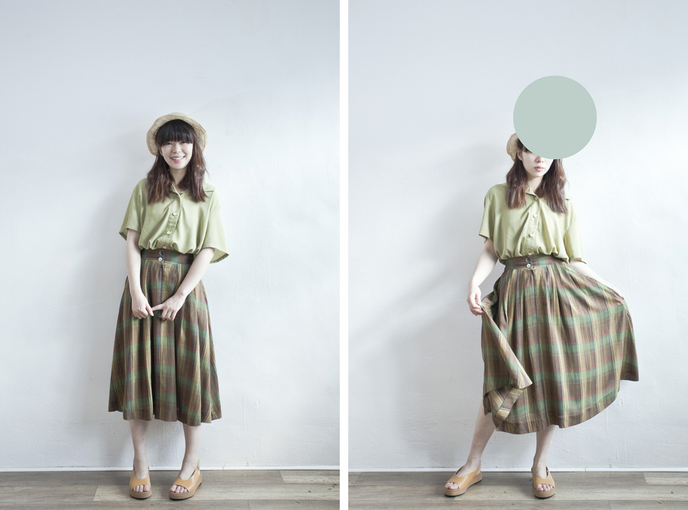 NBV4952 presto meadow green mixed checkers skirt   price: HK$278 / NT$1200    也在賣 \\ 上衣 \ 帽子 \ 鞋子