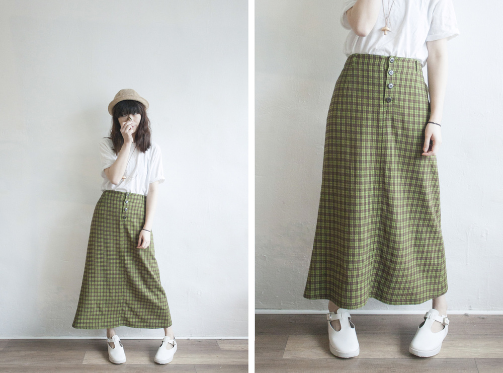 NBV4705 cools ville back pocket green checks skirt   price: HK$158 / NT$680   made in japan    也在賣 \\ 蘑菇頸鏈