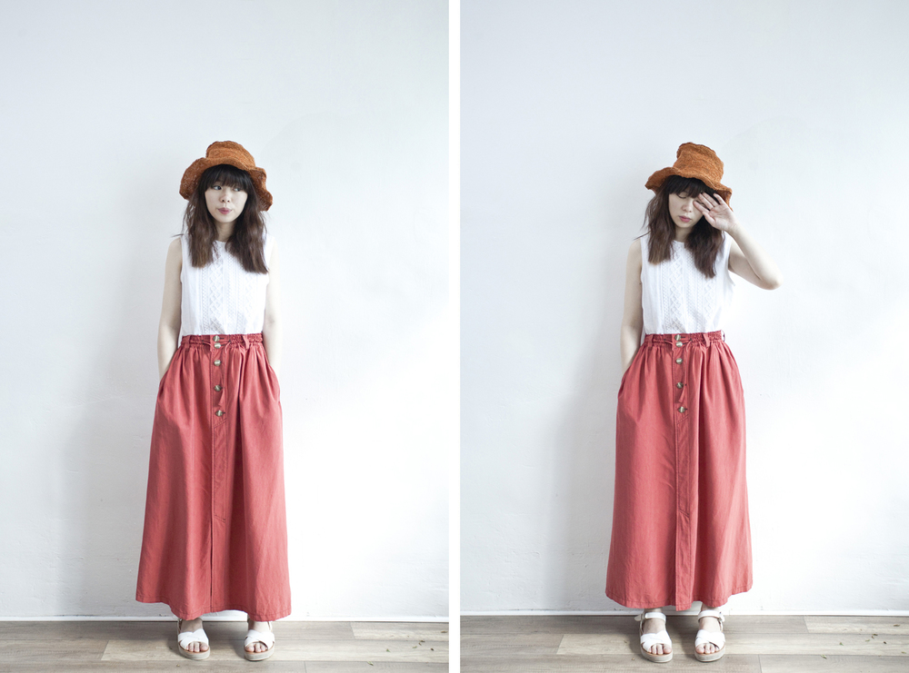 NBV4946 emelie poppy red buttoned skirt   price: HK$278 / NT$1200   made in japan    也在賣 \\ 上衣 \ 帽子 \ 鞋子