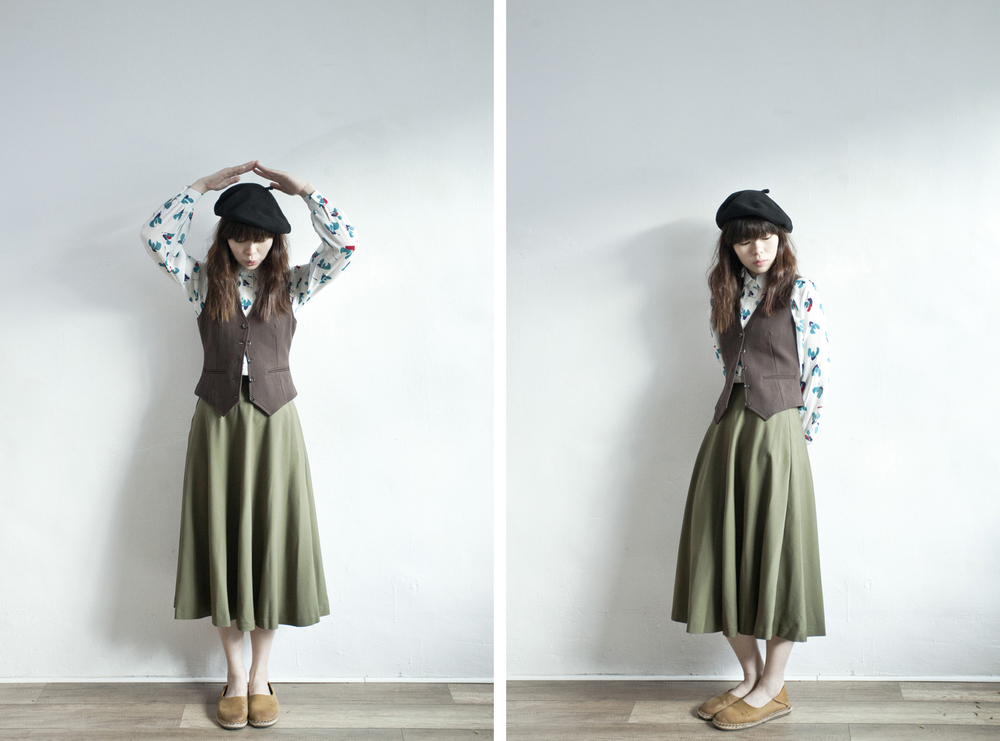 NBV4951 cordier khaki full skirt   price: HK$278 / NT$1200   handpicked in korea    也在賣 \\ 上衣 \ 帽子 \ 鞋子 \ 背心外套
