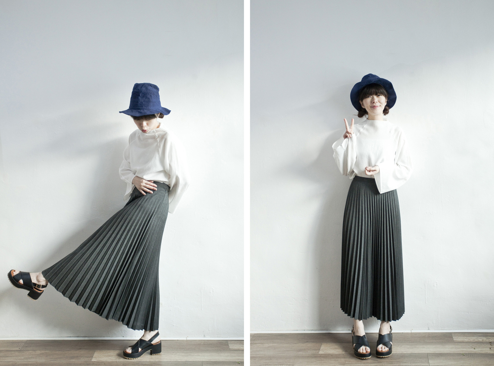 NBV4967 permity charcoal pleats midi skirt   price: HK$278 / NT$1200   handpicked in korea    也在賣 \\ 上衣 \ 帽子 \ 鞋子
