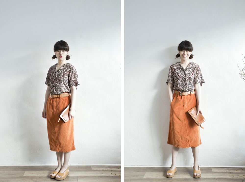 NBV4945 scolar orange light corduroy h skirt   price: HK$228 / NT$980   handpicked in korea    也在賣 \\ 上衣 \ 鞋子