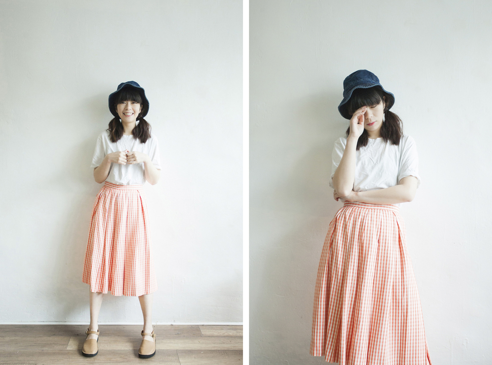 NBV4301 jackie natapricot checks pleated skirt   price: HK$188 / NT$800   made in japan