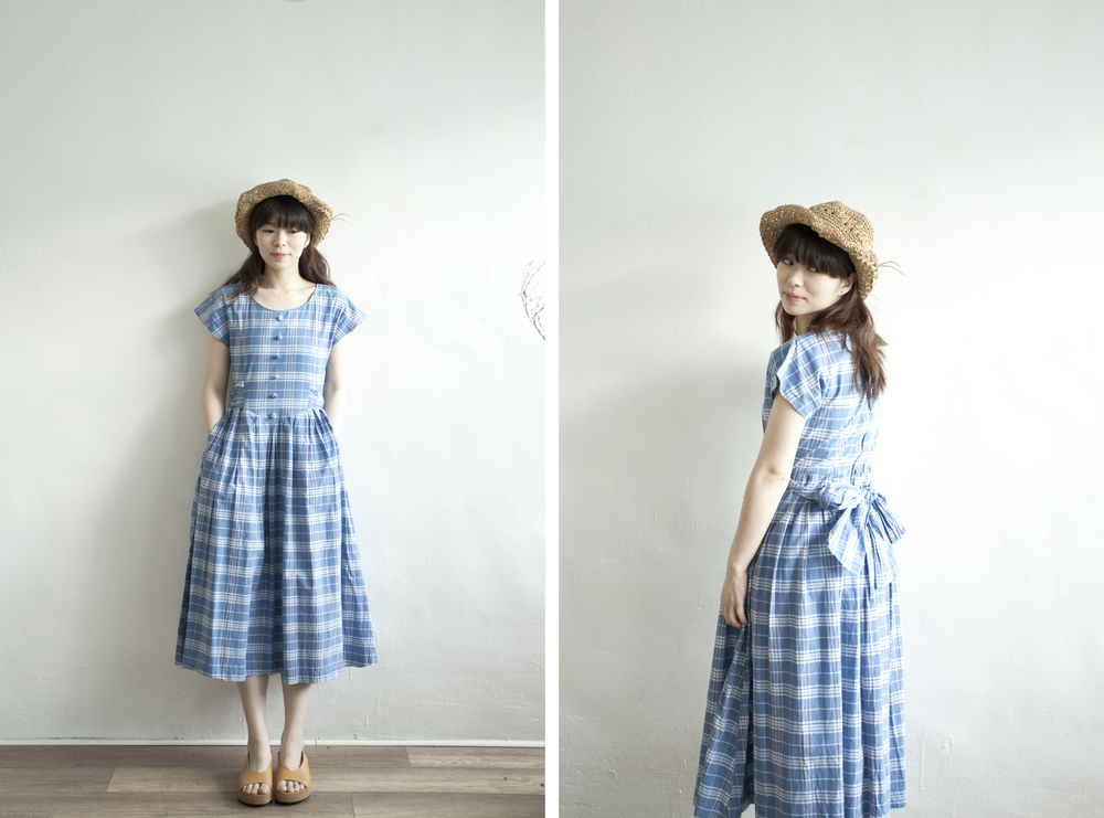 NBV4985 maureen ocean blue checks ribbon tied dress   price: HK$298 / NT$1280   handpicked in korea    也在賣 \\ 帽子 \ 鞋子