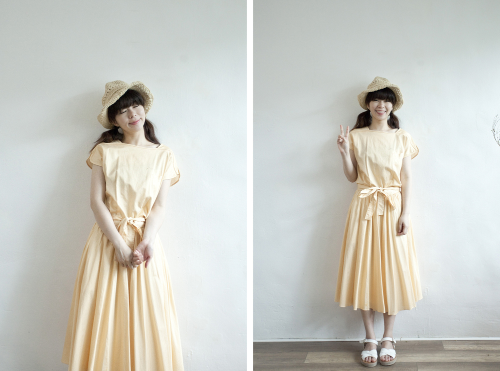 NBV4970 zele vivace light orange stripe dress   price: HK$298 / NT$1280   handpicked in korea    也在賣 \\ 帽子 \ 鞋子