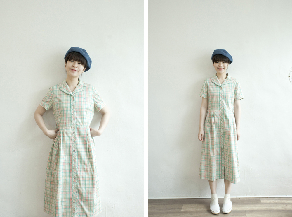 NBV4981 andis pastel mixed checks ruffle collar dress   price: HK$298 / NT$1280   handpicked in korea    也在賣 \\ 帽子 \ 鞋子