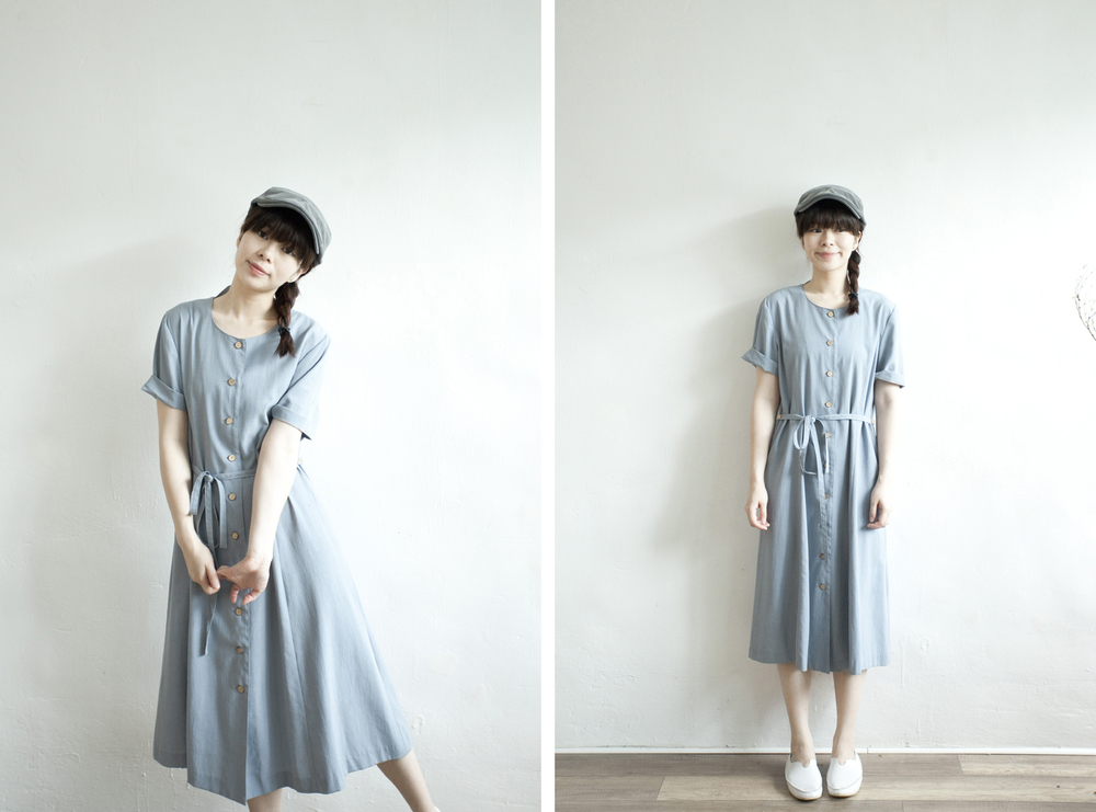 NBV4987 sofc pale blue wood button dress   price: HK$298 / NT$1280   handpicked in korea    也在賣 \\ 帽子 \ 鞋子