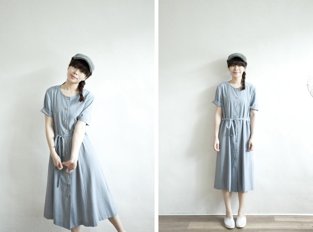 NBV4987 sofc pale blue wood button dress   price: HK$298 / NT$1280   handpicked in korea    也在賣 \\ 帽子 \ 鞋子