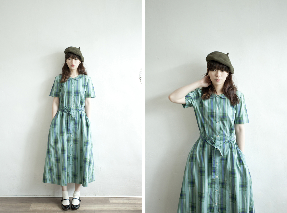 NBV4982 yorkland green blue checks pan collar dress   price: HK$268 / NT$1150   handpicked in korea    也在賣 \\ 帽子 \ 鞋子