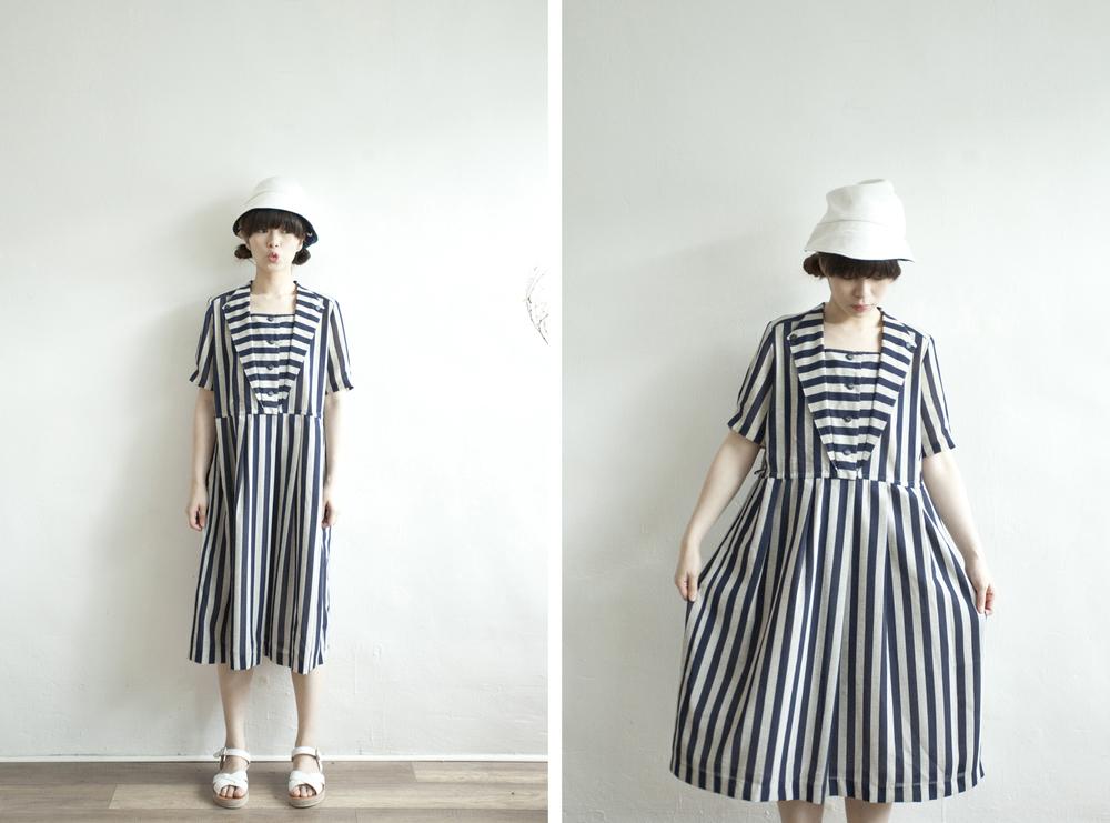NBV4988 valsagi navy stripe v collar line dress   price: HK$248 / NT$1070   handpicked in korea    也在賣 \\ 鞋子