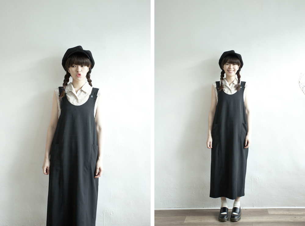 NBV4999 brie black boxy strap dress   price: HK$298 / NT$1280   handpicked in korea    也在賣 \\ 上衣 \ 帽子 \ 鞋子