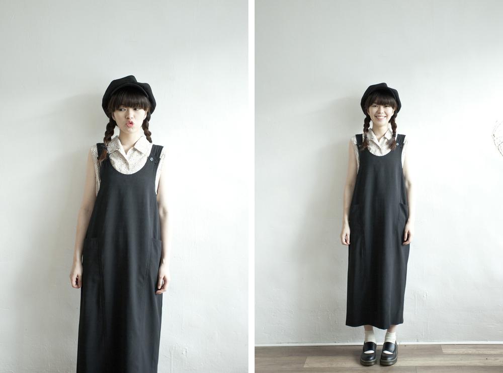 NBV4999 brie black boxy strap dress   price: HK$298 / NT$1280   handpicked in korea    也在賣 \\ 上衣 \ 帽子 \ 鞋子