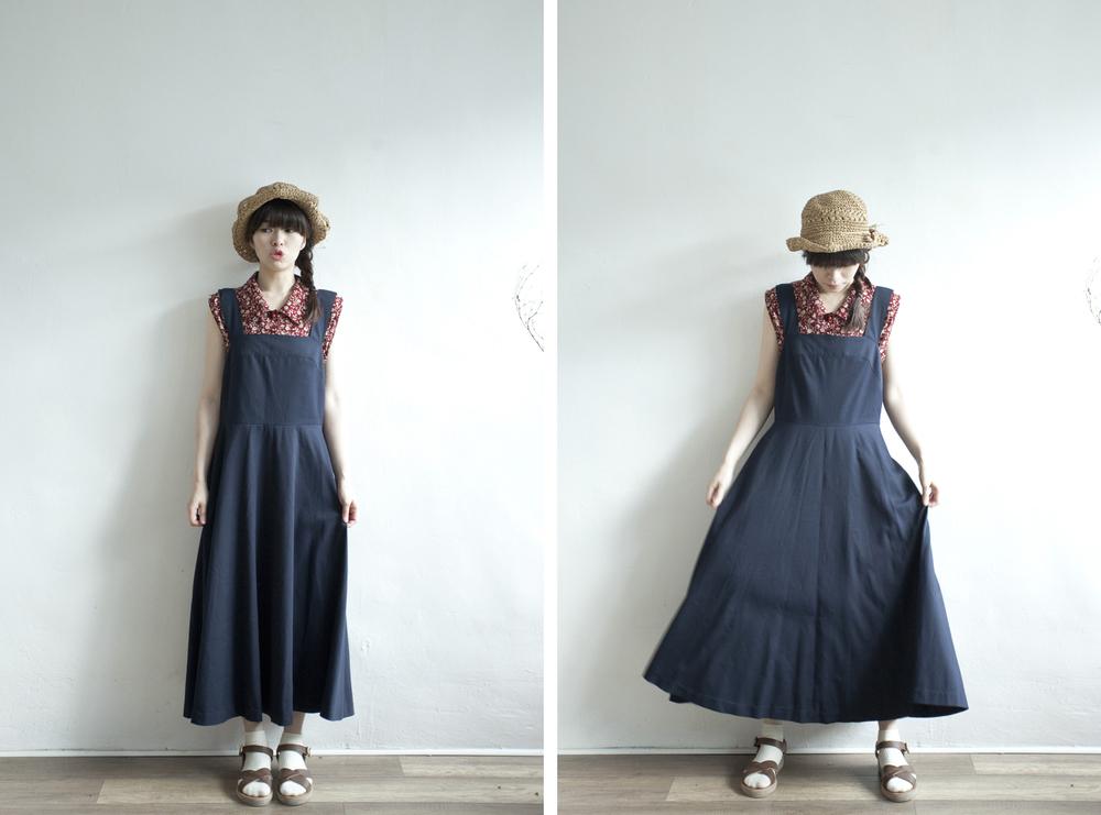 NBV4998 claudia dark navy strap flare dress   price: HK$278 / NT$1200   handpicked in korea    也在賣 \\ 上衣 \ 帽子 \ 鞋子