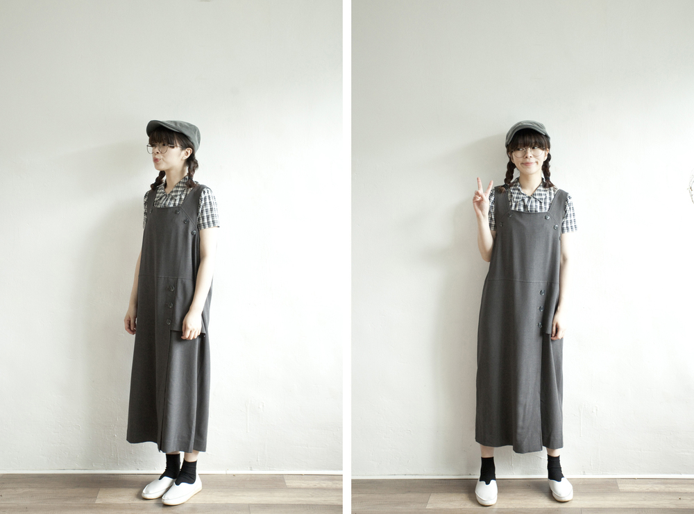 NBV4996 ill papira flat buttoned charcoal dress price: HK$278 / NT$1200 handpicked in korea  也在賣 \\ 上衣 \ 帽子 \ 鞋子