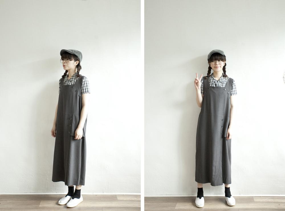 NBV4996 ill papira flat buttoned charcoal dress price: HK$278 / NT$1200 handpicked in korea  也在賣 \\ 上衣 \ 帽子 \ 鞋子